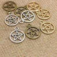 Wholesale Pentagram Metal - PULCHRITUDE Three Color Vintage Metal Alloy Pentagram Charms Jewelry Pendant Charms Findings 50pcs 20*25mm T0337