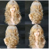 qualität sexy lange perücken großhandel-100% neue hochwertige Mode Bild volle Spitze Perücken Sexy Frauen lange gewellte synthetische hitzebeständige Cosplay Haar volle Perücke Mix Blonde