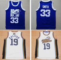 Wholesale Rock Smith - Cheap Mens MTV Bricklayers #19 Aaliyah Jersey White Music Television Rock N Jock Blue #33 Smith Music Television Movie Jerseys Mix Order