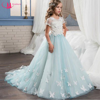 Wholesale Teenager Pageant Dresses - Beautiful Design Sweep Train Flower Girls Dress Short Sleeve A-line Gown Birthday Party Teenagers Dress Pageant