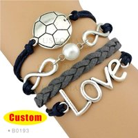 Wholesale Grey Pearls Set - (10 Pieces Lot) Infinity Love Soccer Golf with Pearl Bracelet Gift for Soccer golf Fans Navy Grey Custom Any Themes Bracelet Drop Shipping