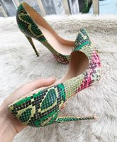 Wholesale Size 33 Boots - Free shipping Fashion women python snake point toe thin IRed Bottom high heels shoes pumps boots 8CM 10CM 12CM Heels Size 33-44