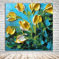 Wholesale Large Yellow Abstract Oil Painting - KGTECH 3D Thick Texured Acrylic Painting Yellow Tulip Flowers Wall Art Handmade Florals Artworks Large 40 Inch