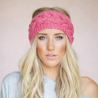 Wholesale Headband Accessories For Women - 23 Colors Knitted Turban Headbands For Women Winter Warm Crochet Headband Head Wrap Wide Ear Warmer Hairband Hair Accessories