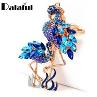Wholesale Bird Keychains - Delicate Double Flamingo Bird Key Chains Rings Holder For Car Crystal Rhinestone Bag Pendant For Women Keyrings KeyChains K277