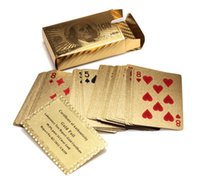 Wholesale Poker Playing Card - Certified Pure 24 K Carat Novelty Gold Foil Plated Poker Playing Cards w  52 Cards & 2 Jokers Gift Table Games