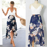 Wholesale Cocktail Chiffon Lace Maxi Dress - Women's V-neck Backless Lace Top Summer Party Evening Cocktail Floral Casual Beach Maxi Dress