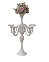 Wholesale Tall Candle Holders For Weddings - beautiful Tall Wedding Cheap Silver Candelabra With Flower Holder Centerpiece Candle Holders for wedding table decoration centerpieces LLFA