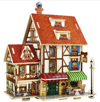 Wholesale 3d Wooden Puzzle House - 3D Wood Puzzle DIY Model Kids Toy France French Style Coffee House Puzzle,puzzle 3d building,wooden puzzles