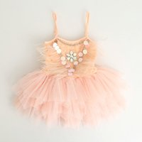 Wholesale Children Feathered Dresses - Girls chirstmas dresses kids feather sequins tiered gauze suspender princess dress glitter felt child rhinestone sequins dance dress T0284