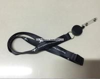 ingrosso bobine bianche-Spedizione gratuita 2cm * 90cm Black Airplane Logo Nylon cordino con stampa testo bianco Cheap Badge Reel Cordini Pull fibbia cordino