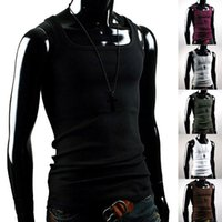 Wholesale Sexy Collared Vest - Wholesale- Bluelans Men's Summer Solid Cotton Shawl Collar Slim Muscle Vest Fit Sexy Stylish Fashion Sleeveless Broadcloth Tank Tops Shirt