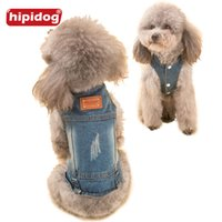 Wholesale Denim Thanksgiving Shirt - Hipidog Pet Cat Dog Spring Summer Classic Denim Sleeveless Vest Shirt Clothes with 3 Buttons Puppy Jacket for Small Dogs Pets