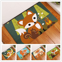 Wholesale door mat cute - New 11 Styles Cartoon Animal Pattern Cute Fox Owl Abstract Painting Carpets Anti-Slip Floor Mat Outdoor Rugs Front Door Mats 40x60cm 50x80cm