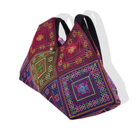 Wholesale Embroidered National Trend - Wholesale-New National Trend Embroidery Rice dumplings Shoulder Bag Tote Handmade Embroidered Ethnic Characteristics Women's Handbags