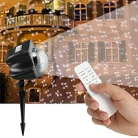 Wholesale Led Landscape Projection - New Chirstmas Snowfall Flurries Lights Snow Lamp LED Snowflake Projector Lights Garden Lawn Lamp Waterproof Landscape Projection Lighting