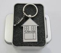 Wholesale 128gb Usb Flash Storage - 60PCS  LOT 16GB 32GB 64GB 128GB 256GB Mini House Design USB 2.0 Flash Stick Memory Drive Storage Thumb Pen U Disk
