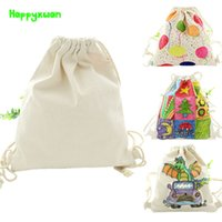 Wholesale Kids White Canvas Shoulder Bags - Happyxuan 5pcs lot DIY White Mold Painting Double Shoulder Backpack Blank Canvas Draw String Bag Kids Baby Early Learning toys