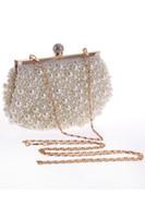 frauen braut handtaschen großhandel-2017 Hot Günstige Kristall Perlen Braut Taschen mit Kette Frauen Hochzeit Abend Prom Party Handtasche Schultertasche Clutch Taschen CPA960