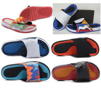 Wholesale Blue Sandals Women - High Quality Retro 7 Hawaii Slippers Men Women Retro 7s Hydro Dots White Red Blue Slides Slippers Summer Beach Casual Sandals With Box