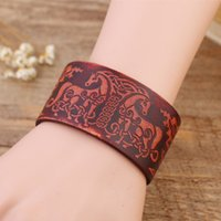 Wholesale Jewelry Fasteners Wholesale - Wicca Handmade Amulet Nordic Talisman Leather Wristband Cuff Bracelet DIY with Snap Fasteners For Jewelry Gift