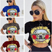 Wholesale Womens Browning T Shirts - Womens Lady Tops Loose Pullover T Shirt PINK Short Sleeve White Cotton Crop Top Brand T-shirt guns.n & roses Shirt New Summer