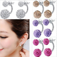 Wholesale Cheap Wholesale Stud Earrings - Double Sided Crystal Ball Silver Stud Earrings Women Cubic Zirconia Rhinestone Beads Pearl Fashion Jewelry Cheap Wholesale