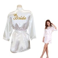Vente en gros- Bride Crown Team Bride Impression Golden Glitter Kimono Robes Faux Silk Femme Bachelorette Wedding Préparation Livraison gratuite