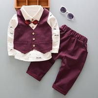 Wholesale infant boys spring jackets resale online - Spring Infant Boys Suits Blazers Suits Clothes Vest Shirt Pants Wedding Formal Party Plaid Baby Kids Boy Outerwear