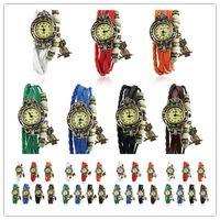 зеленый кожаный браслет оптовых-Горячее сбывание DHL освобождает перевозку груза Retro Quartz Fashion Weave Wrap Around Leather Bracelet Bangle Womens Tree Leaf Green Girl Watch в наличии