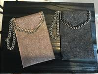 Wholesale Women Purse Wrist - phone pocket coin purses chain handle wrist shining pvc bag