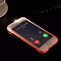 Wholesale Case Plastic Flash - Cheap TPU+PC LED Flash Light Up Case Remind Incoming Call Cover for iPhone 7 SE 6 6S Plus Samsung S7 S6 Edge Note 5 Clear Transparent Skin