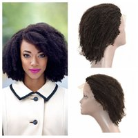 Wholesale Human Afro Brazilian Wigs - Lace Front Wigs Natural Hairline Brazilian Afro Kinky Curly Human Hair Full Lace Wigs U Part Wigs G-EASY