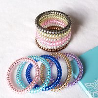 Wholesale Sell Candy - 2017 Hot selling Women Colorful Hairband Girl Candy Color Headband Telephone Cord Elastic Ponytail Holders Hair Ring 100pcs lot Diameter 5cm
