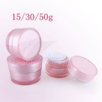 Wholesale Acrylic Cream - 15g 30g 50g Cone Shape Acrylic Cream Container Pink Cosmetic Cream Bottle ,Cosmetics Packaging Pot Tin, Skin Care Makeup Can