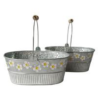 ingrosso tin wood boxes-Fioriera da giardino in metallo Ovale Sharp scatola di latta Vasi di ferro vaso di fiori Fioriera sospesa con manico in legno fiore vintage