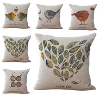 Wholesale Nice Hotel - I Love You Nice Talking to You Bird Pillow Case Cushion cover Linen Cotton Throw Pillowcases sofa Bed Pillowcover Drop shipping PW491