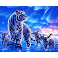 Wholesale Tiger Bedroom Wall - tiger Tiger family animal DIY Diamond Painting Embroidery 5D Cross Stitch Crystal Square Home Bedroom Wall Art Decoration Decor Craft Gift