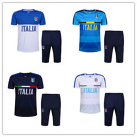 Wholesale Italian Trains - top thai quality 16-17 Italian short sleeves training suit soccer jersey short sleeve 3 4 pants football kits survetement free shipping