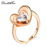 Fashion Rose Gold Plated Love Heart Imitation Crystal Rings pour les femmes Girls Anniversary Gift Jewelry Wholesale DFR148