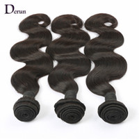 Wholesale Derun Human Weave - Derun Hair onr Sale!!!Mix 3pcs lot Indian Human Hair Weft Extension Body Wave Hair Weave Natural Black 100g pcs Fast Free Shipping!!!