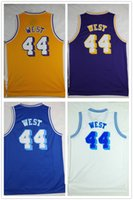 Mens # 44 Jerry West Johnson Jersey Remendo barato Jerry West Basquete Jerseys Azul Branco Amarelo Purple Aceitar Mix Ordens