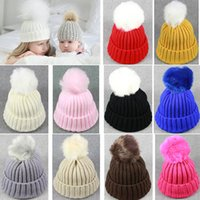 Wholesale Toddler Halloween Knitted Hats - 2017 New Baby Toddler Knit Beanie Hats Girls Boys Warm Winter Fur Pom Hat Crochet Ski Ball Caps Christmas Halloween Gifts HH7-130
