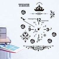 Wholesale american decorative arts - Clock Wall Stickers Living Room Art Decal Removeable Wallpaper Mural Sticker for Kids Room Girls Adhesive Decorative Bedroom