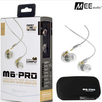 Wholesale Ear Phones Colors - MEE Audio M6 PRO Noise Canceling 3.5mm HiFi In-Ear Monitors Earphones with Detachable Cables Sports Wired Headphones 2 Colors DHL Free