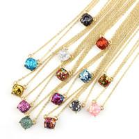 Wholesale Chandelier Necklaces - Hot Sale Wholesale Kate Style New York Rainbow Glitter Square Pendant Necklace Spade Gold Plated Opal Glitter Square Necklaces Pendants