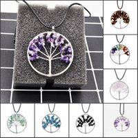 Wholesale mixed style slide charms for sale - Group buy New Fashion Tree of Life Necklaces Wisdom Natural Stone Gemstone Women Pendant Vintage Necklaces Hollow Mix Styles Charms Jewelry B158S