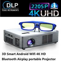 ingrosso dlp costruito proiettore wifi 3d-All'ingrosso-2016 Proiettore DLP portatile 3D 4k Chip Proiettore Vetro 3D attivo regalo gratuito Supporto 1920 * 2205P Build-in WIFI Android4.4 Bluetooth
