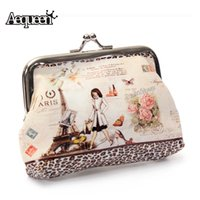 Wholesale Small Cute Women Coin Purse - Wholesale- AEQUEEN Cute Women Coin Wallet Leather Girls Change Purses Coins Bag Character Small Wallets Cartoon Hasp Keys Bag Metal Bar