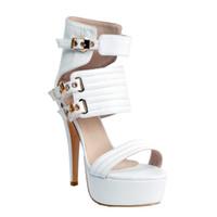 ingrosso tacco della piattaforma della cinghia della caviglia bianca-Kolnoo Womens Fashion Handmade 14,5 centimetri tacco alto piattaforma sandali gladiatore fibbia cinturino alla caviglia scarpe bianche XD083